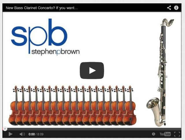 You can help Conductor Composer Stephen P Brown write a Concerto for Bass Clarinet and Strings